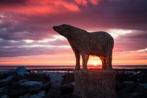 Staithes Festival - Emma Stothards 2018 Polar Bear On Staithes Jetty.