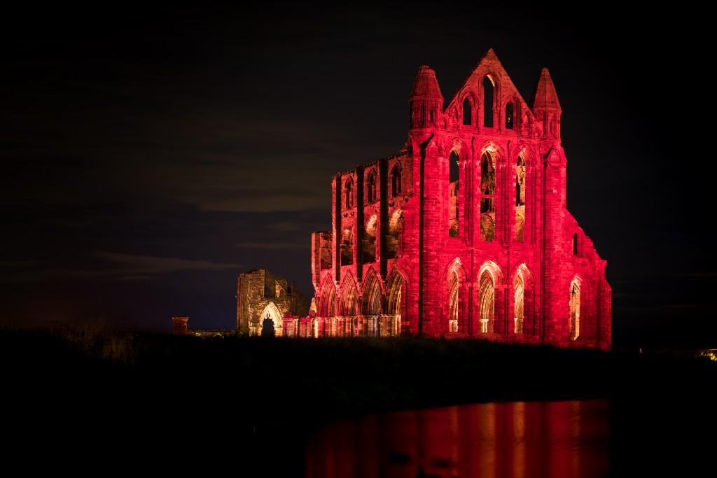 Whitby Abbey Illuminated Red