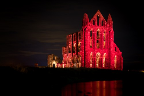 Whitby Abbey Illuminated Red