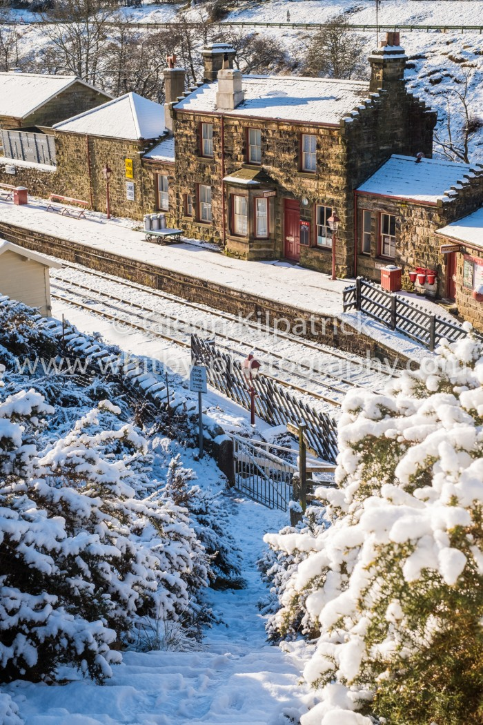 Goathland Station With Heavy Snow Portrait Photograph