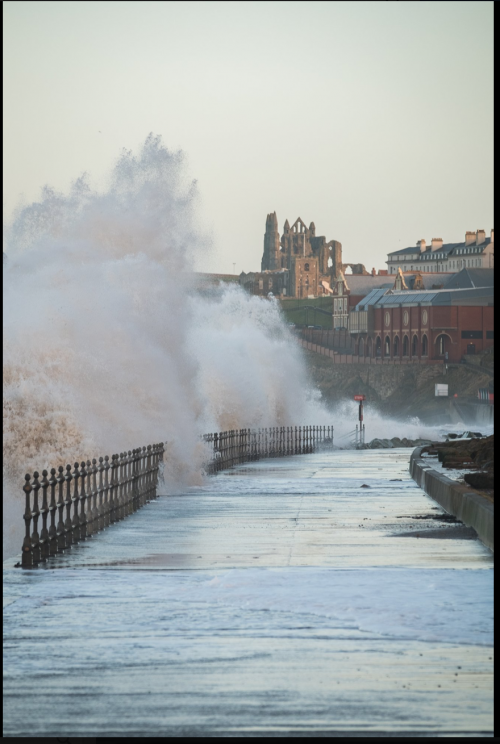 Waves At Upgang Sea Wall Near Whitby