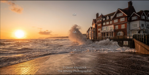 Sandsend Sunrise With Waves Hitting Sea Wall