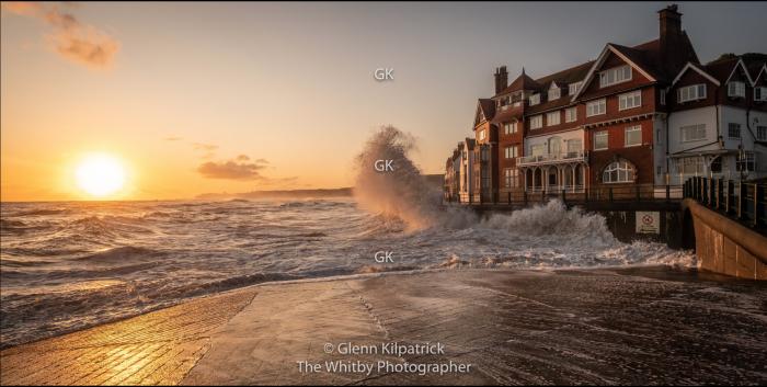 Sandsend Sunrise With Waves Hitting Sea Wall
