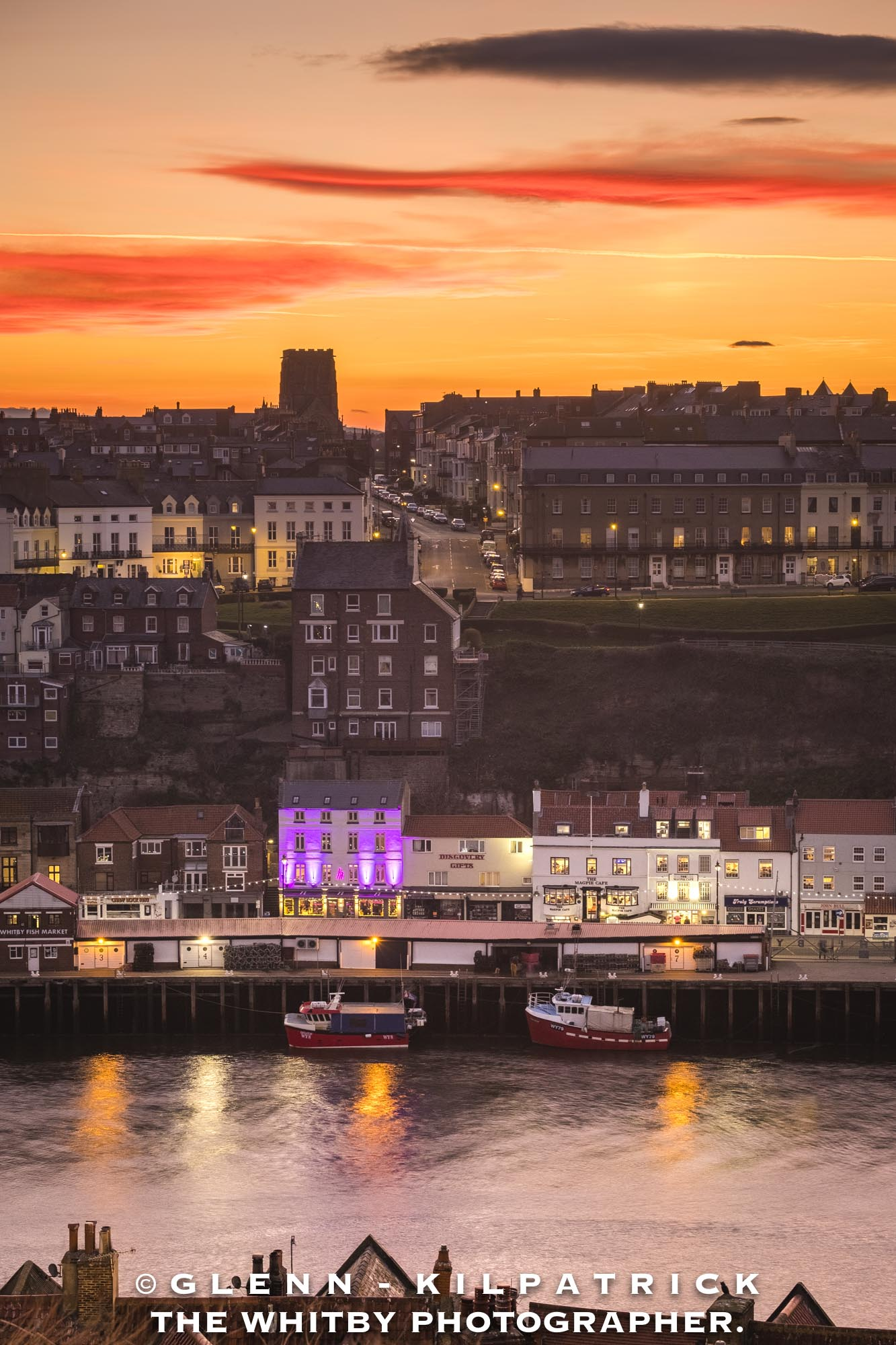 Whitby Harbour At Sunset - Two Little Boats