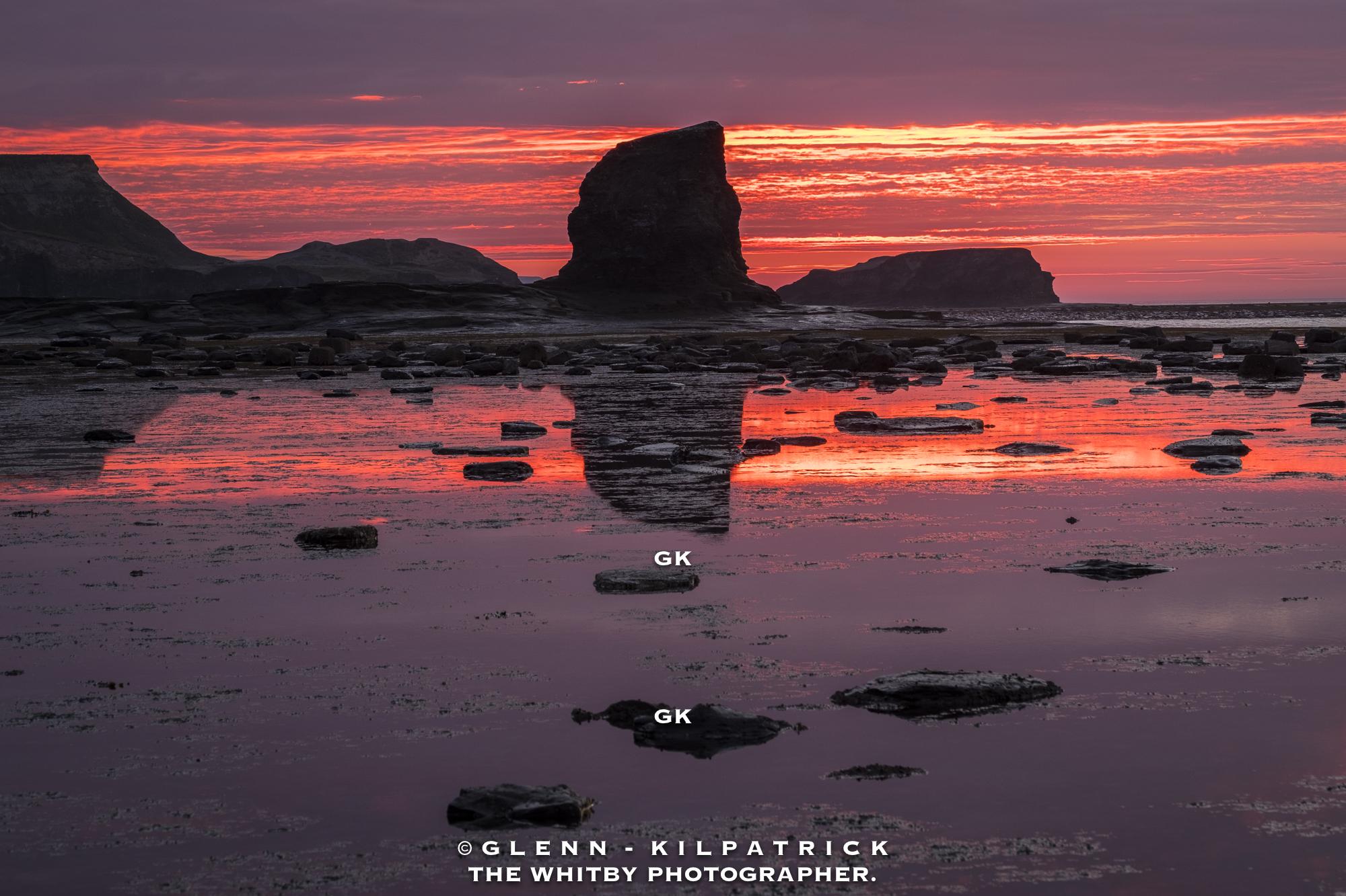 Black Nab Saltwick Bay Sunset With Saltwick Nab Behind
