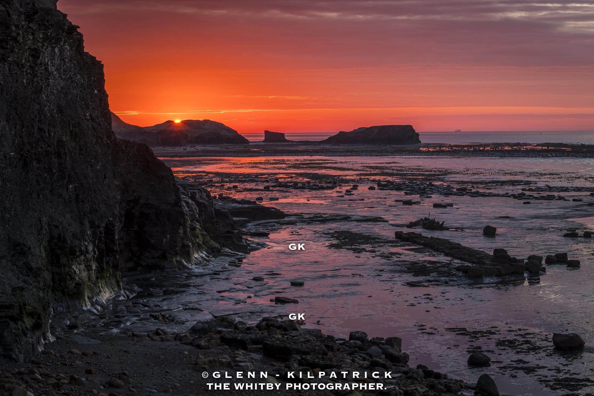 Sunset Over Saltwick Nab - Saltwick Bay, Yorkshire Coast