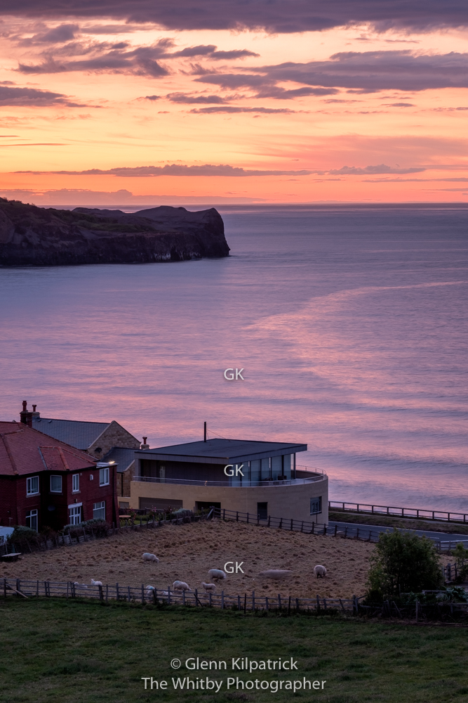 Sunset Over The Doctors Gp's Surgery In The Village Of Sandsend On The Yorkshire Coast