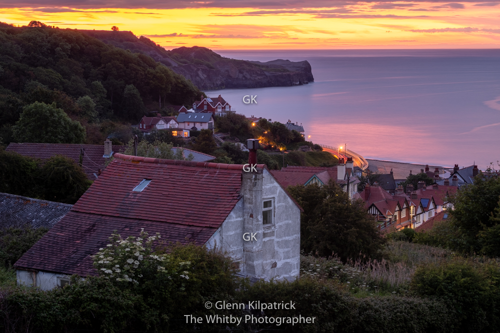 Sandsend Sunset - A beautiful afterglow over the village of Sandsend near Whitby in North Yorkshire.