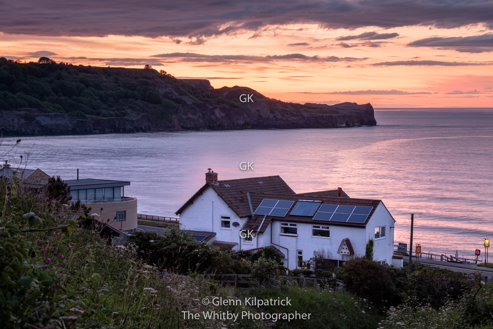 Sunset Afterglow At Sandsend Village Near Whitby.