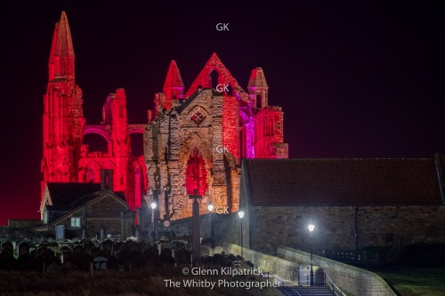 Whitby Abbey Illuminated In Red