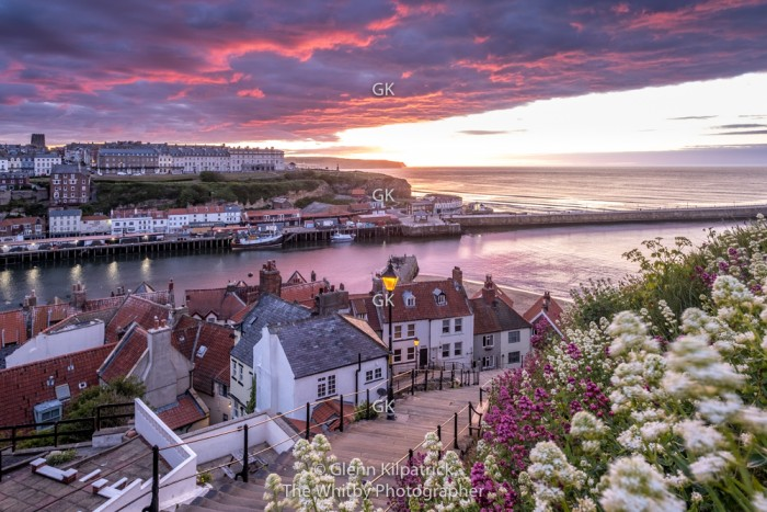 Sunset At The Whitby 199 Steps During Covid 19 Lockdown Of 2020