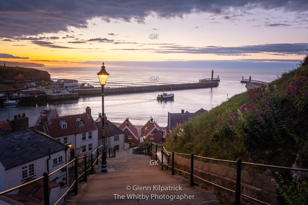 Whitby 199 Steps With Trawler Leaving the Harbour. May 2020