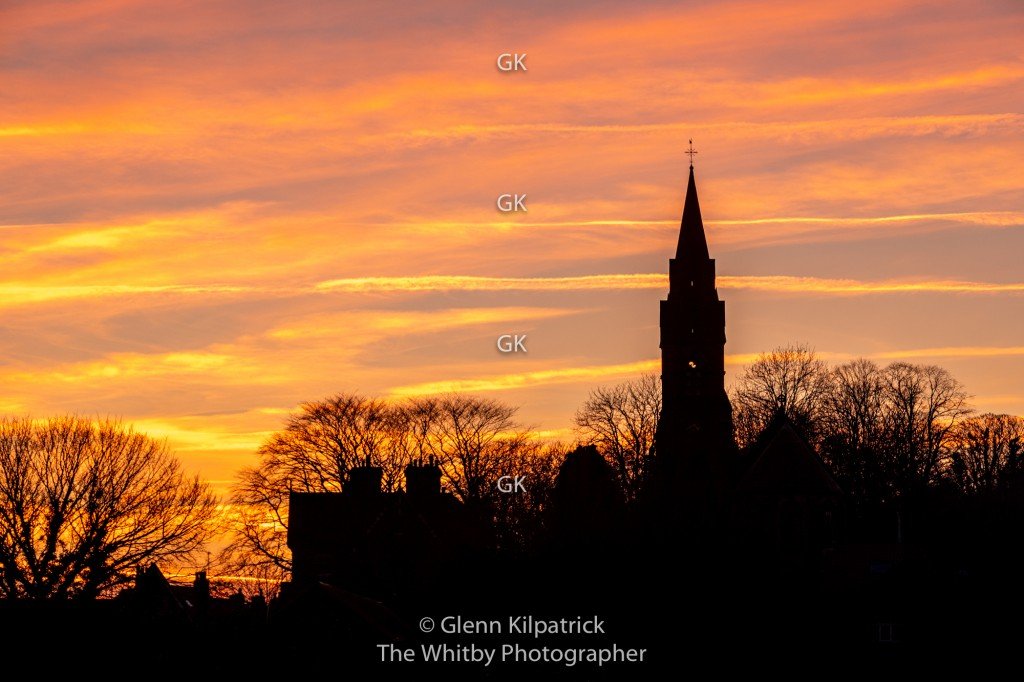 Ruswarp Church Silohetted Against A Mid Winter Sunset