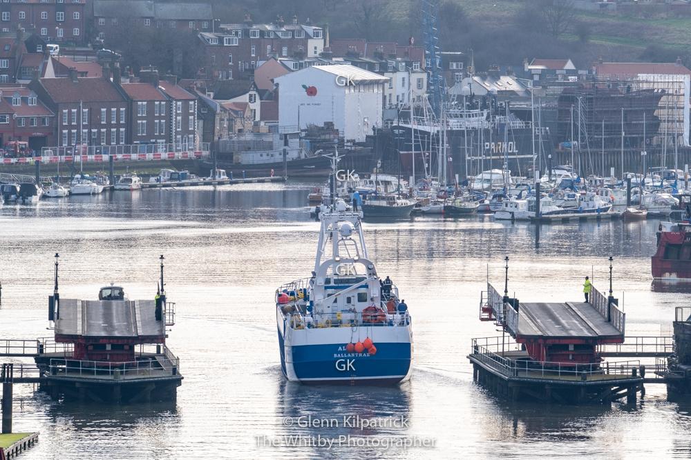 BA 77 Alcedo Parkol Built Boat Arrives At Whitby. Illuminous Bridgeman Alan Wastell Looks