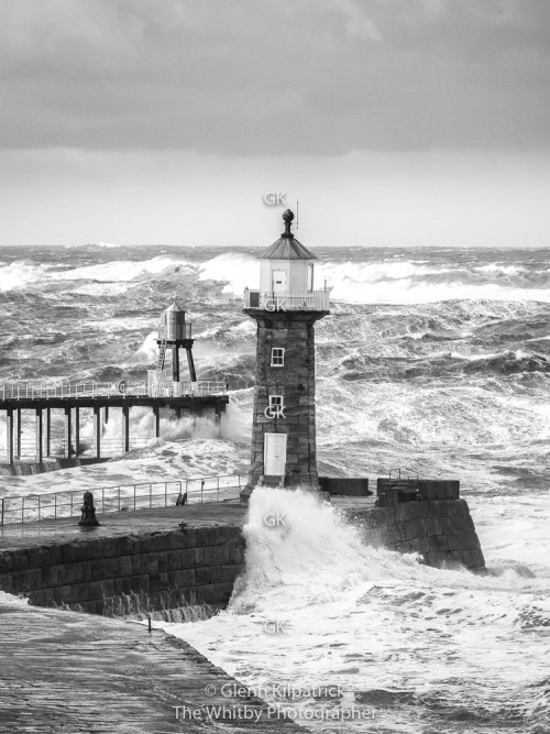 16 x 12 Whitby Piers Storm Surge Canvas