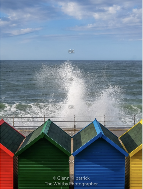 Whitby Beach Huts 16 by 12 canvas